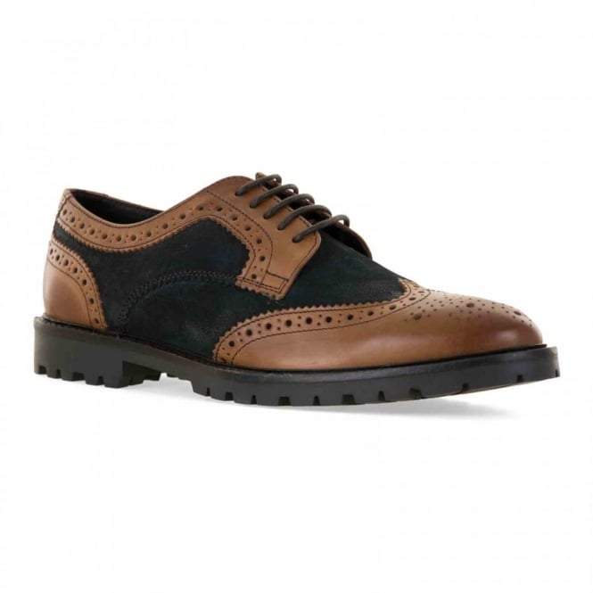 Base Mens Conflict Leather Suede Brogue Shoes (Tan/Navy)