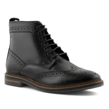 Base Mens Hurst Brogue Detail Lace-Up Boots (Black)
