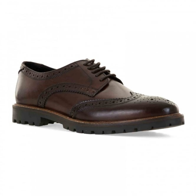 Base Mens Trench Leather Brogue Shoes (Brown)