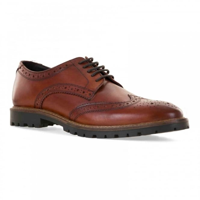 Base Mens Trench Leather Brogue Shoes (Tan)