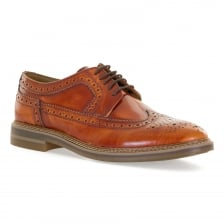 Base Mens Turner HI Shine Brogue Shoes (Tan)