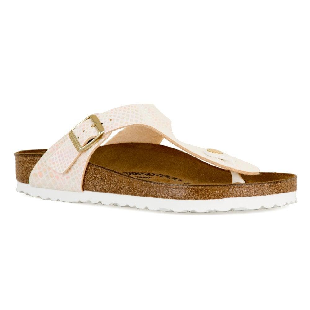 58a07e4ca6521f Birkenstock Womens Gizeh BF Shiny Snake Sandals (Cream) - Womens ...