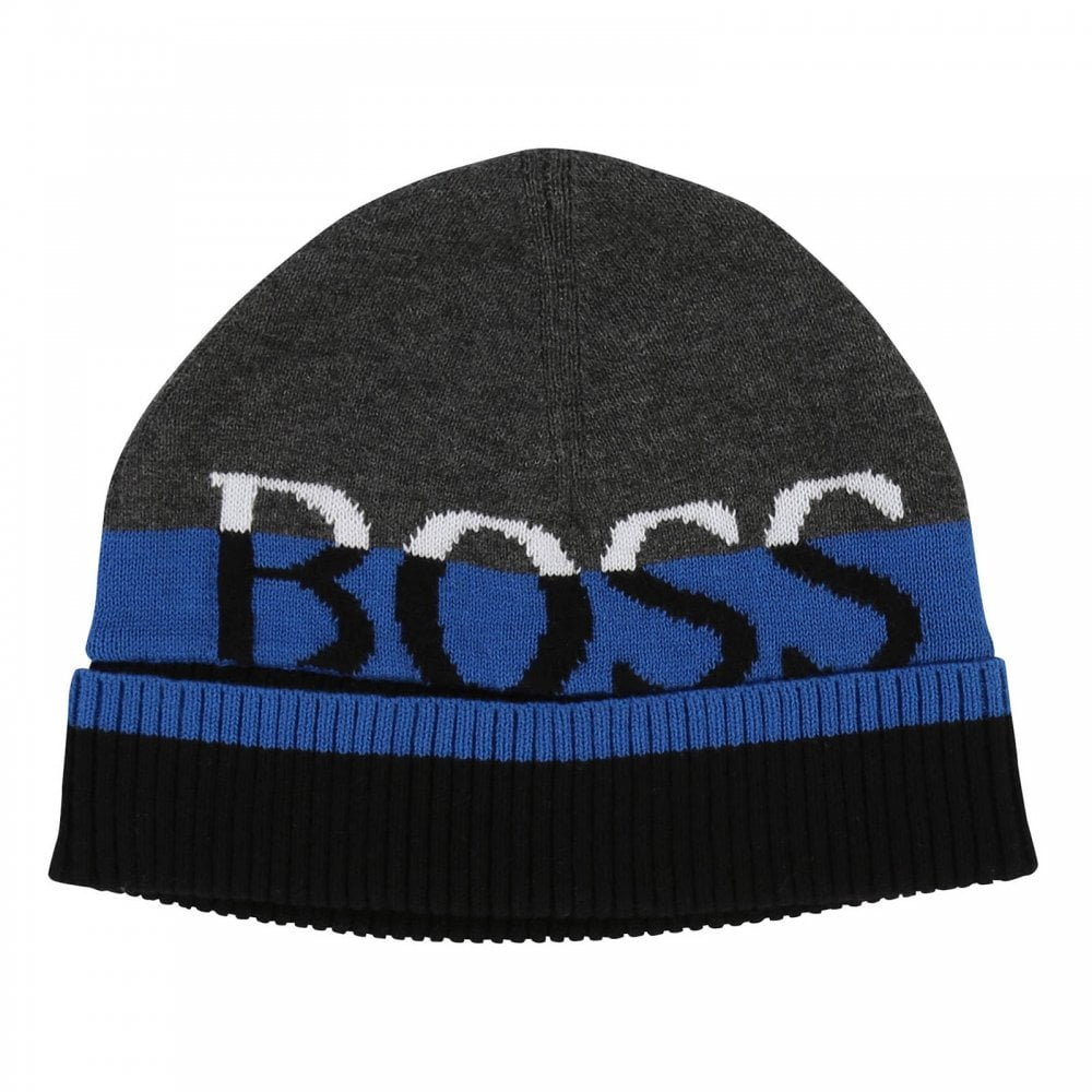 Boss Infants Cuff Knit Beanie (Grey   Blue   Navy) - Kids from Loofes UK 19de6443ac7