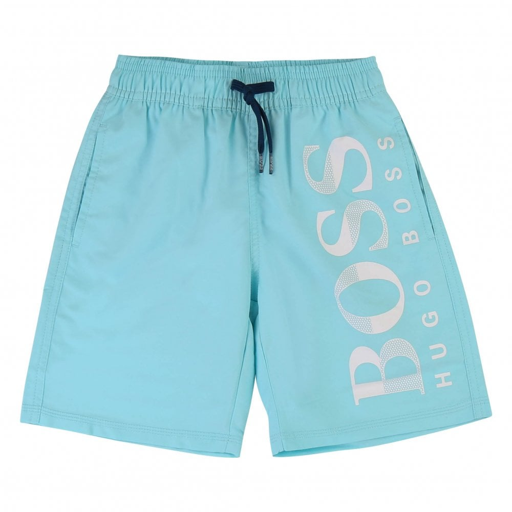 77bc6e64bcca Boss Juniors Logo Swim Shorts (Turquoise) - Kids from Loofes UK