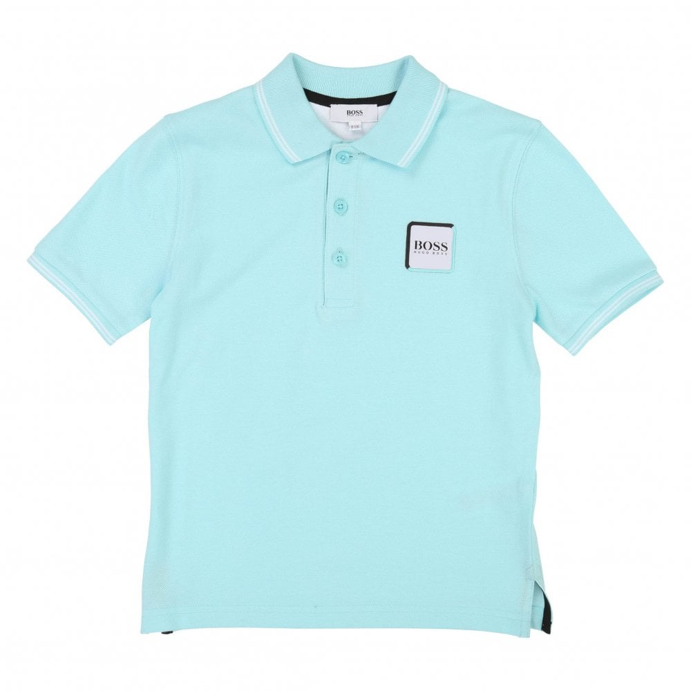 7ecc9dcf0 Boss Juniors Square Patch Logo Polo Shirts (Turquoise) - Kids from ...