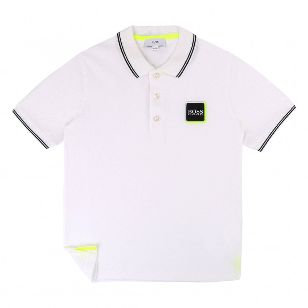 4f2657a2d Boss Juniors Square Patch Logo Polo Shirts (White) - Kids from Loofes UK