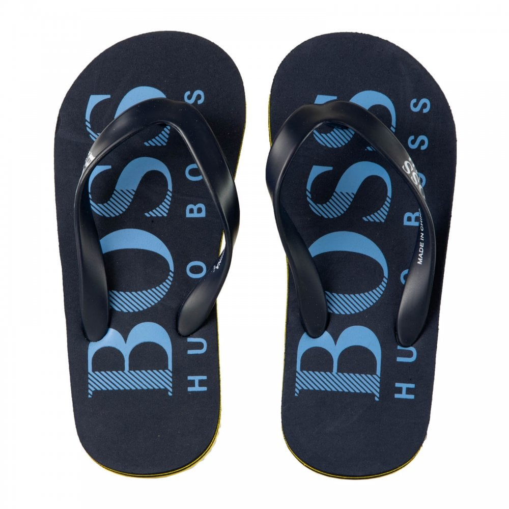 558df190af959 Boss Juniors Y Strap Flip Flops (Navy Yellow) - Kids from Loofes UK