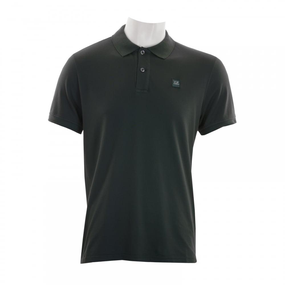 C p company mens embroidered logo polo shirt black for Polo shirt with company logo