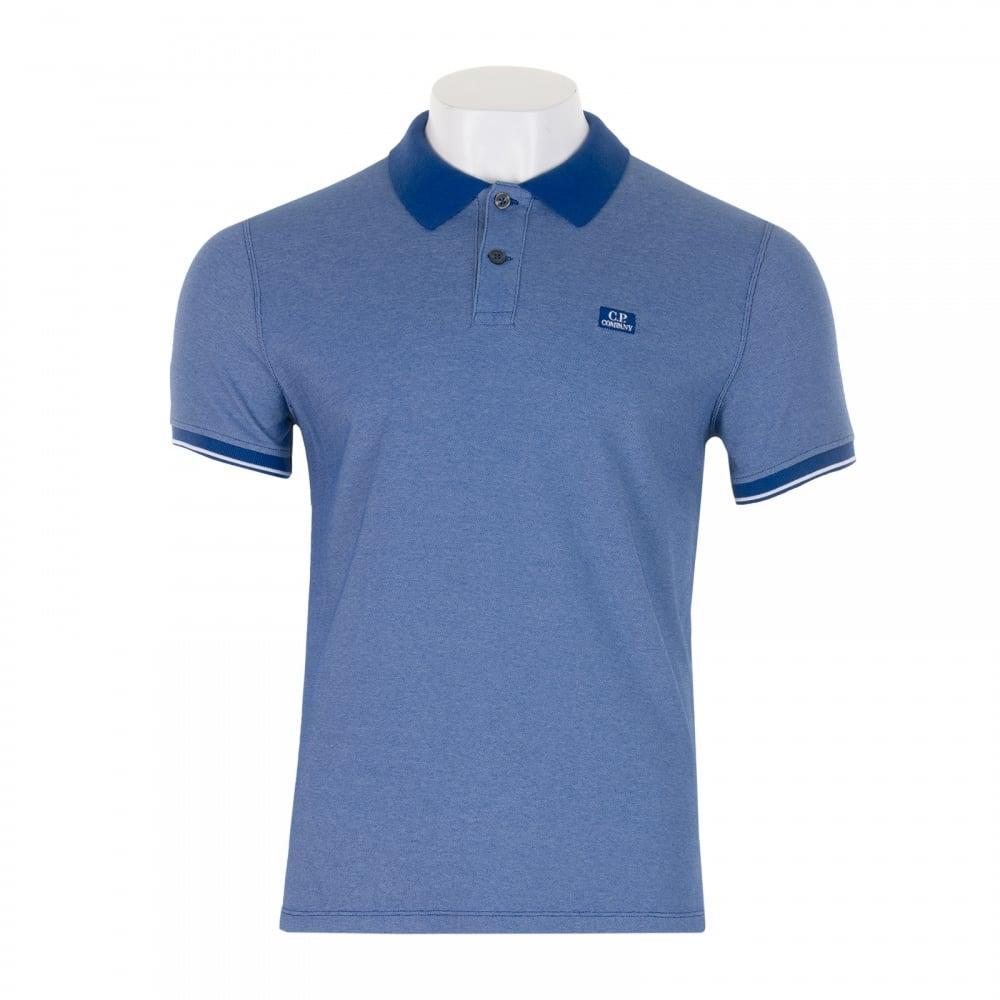 C p company mens embroidered logo polo shirt royal for Polo shirt with company logo