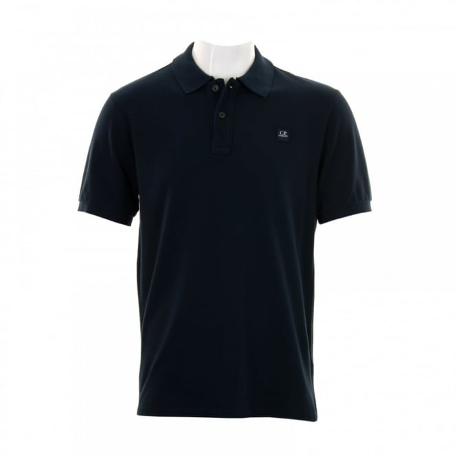 C.P. Company Mens Embroidered Patch Polo Shirt (Navy)