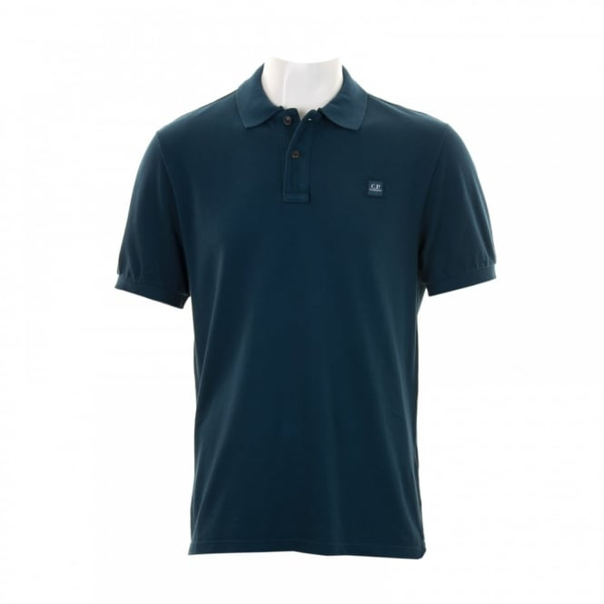 C.P. Company Mens Embroidered Patch Polo Shirt (Petrol)