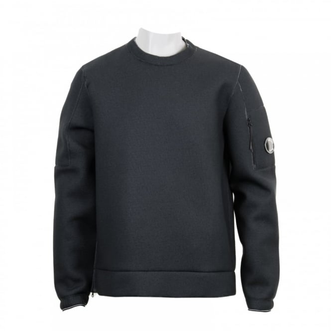 C.P. Company Mens Goggle Sleeve Crew Neck Sweatshirt (Black)