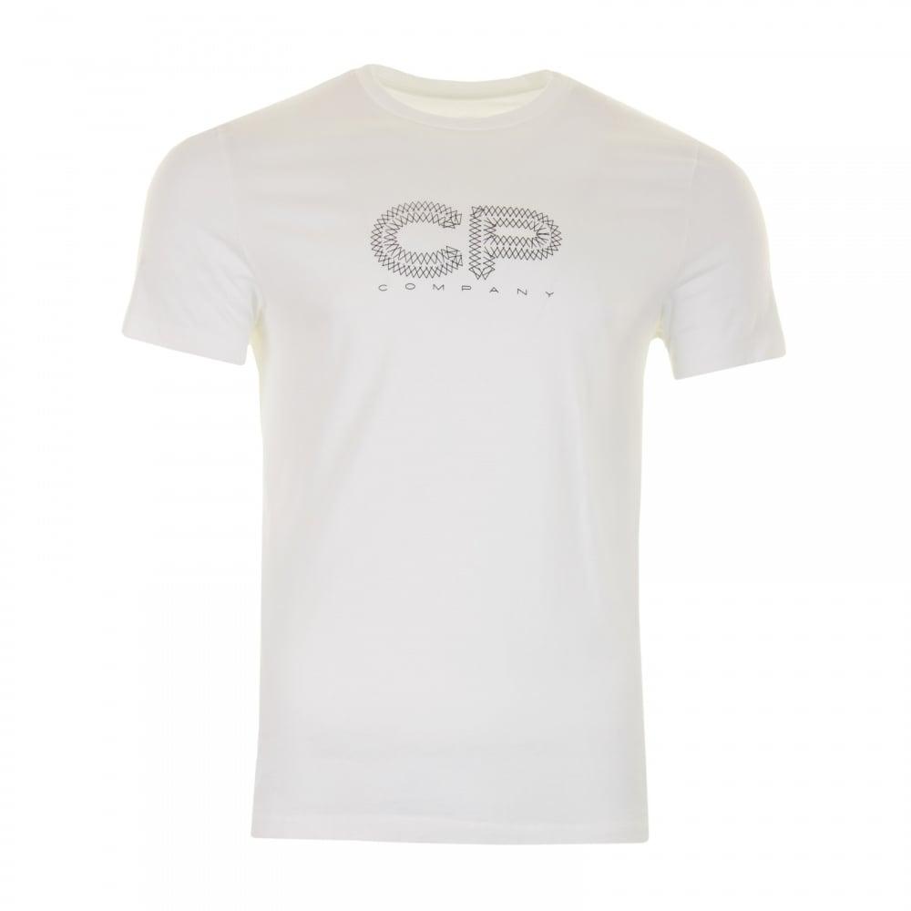 C P Company Mens Logo T Shirt Cream Mens From Loofes Uk