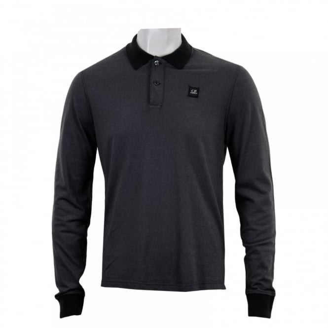 C.P. Company Mens Long Sleeve Embroidered Logo Polo Shirt (Black)