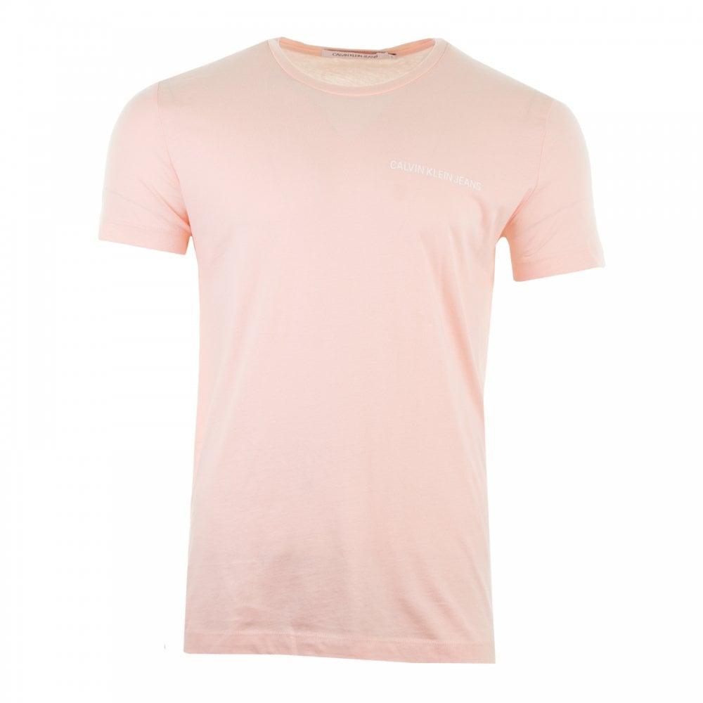 bc38e8edcf8c Calvin Klein Mens Chest Institutional T-Shirt (Peach) - Mens from ...