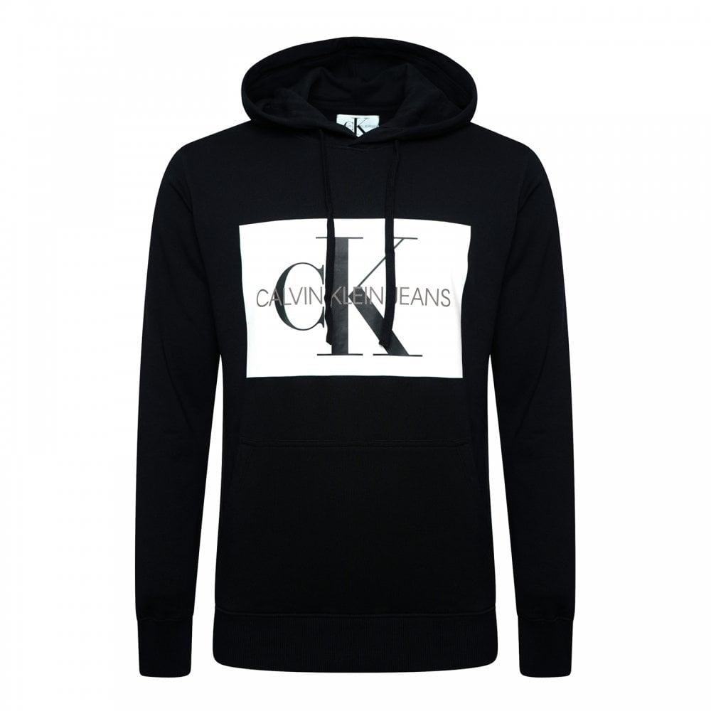 Calvin Klein Mens Monogram Box Logo Hoodie (Black) - Mens from Loofes UK c1e0f5463776