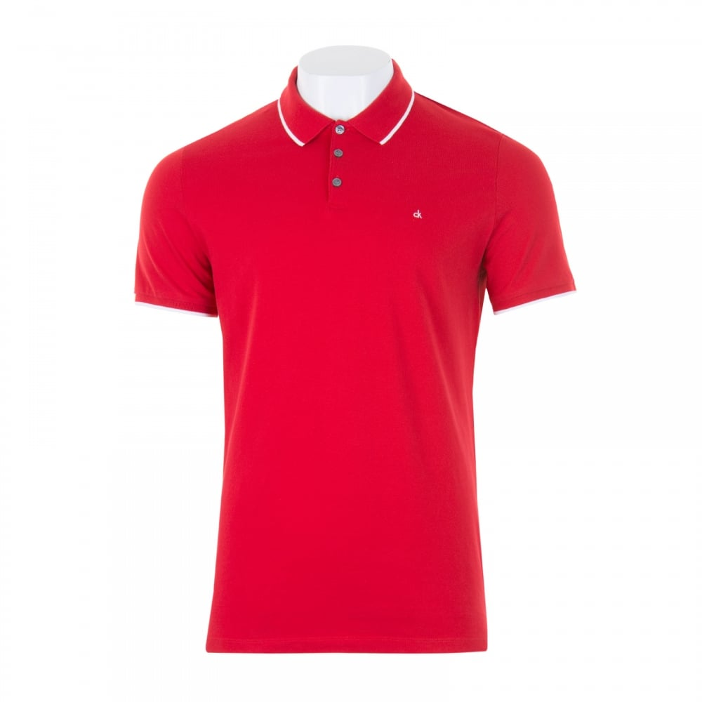 9c46537a19c66 Calvin Klein Mens Paul 2 Slim Polo Shirt (Red) - Mens from Loofes UK