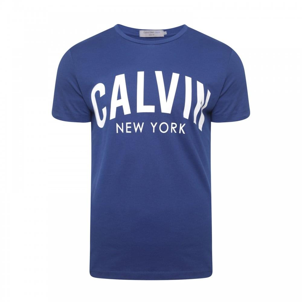 Calvin Klein Mens Tibokoy Slim Fit Logo T-Shirt (Blue) - Mens from ... 082e445be86