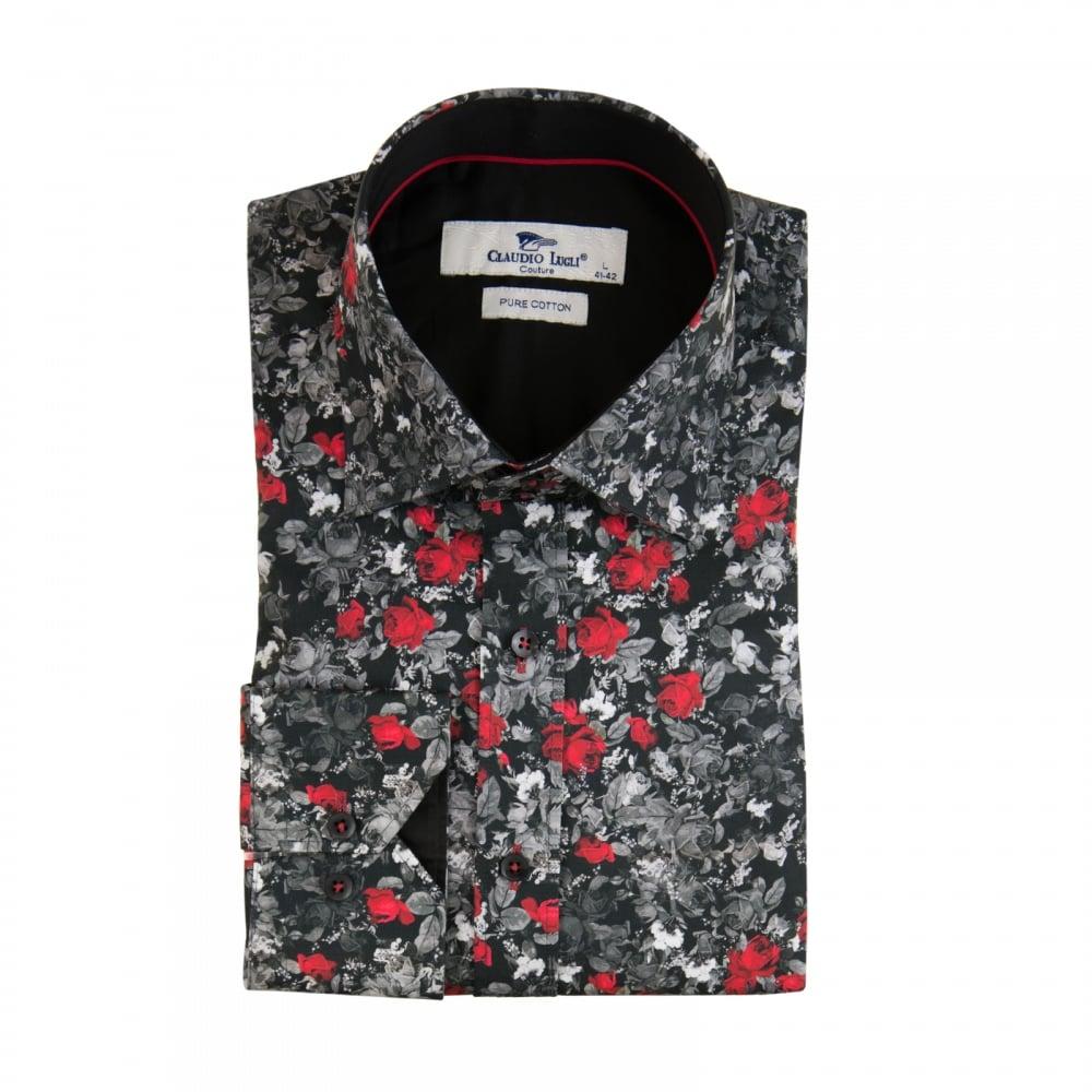 Claudio lugli mens flower print shirt black mens from for Flower print mens shirt