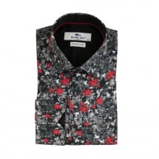 Claudio Lugli Mens Flower Print Shirt (Black)