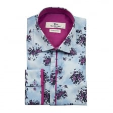 Claudio Lugli Mens Flower Print Shirt (Blue)