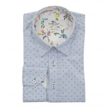 Claudio Lugli Mens Flower Trim Shirt (Blue)