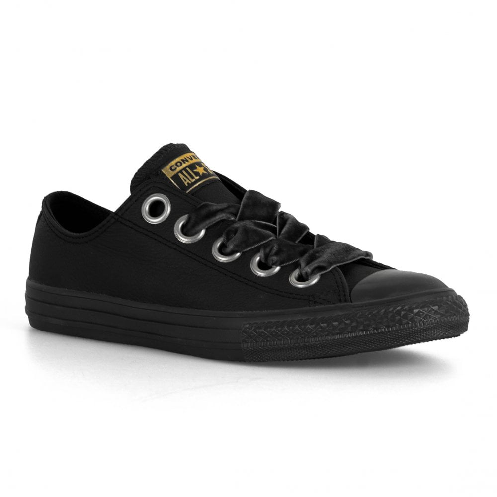 3618a7b016d134 Converse Juniors All Star Big Eyelets Leather Oxford Trainers (Black ...