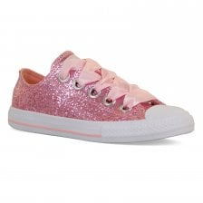 fcdaf7d5c030 Converse Juniors Big Eyelets Glitter Trainers (Pink)