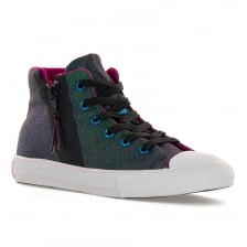 Converse Juniors CT High Sparkle Sport Zip Trainers (Black/Pink)