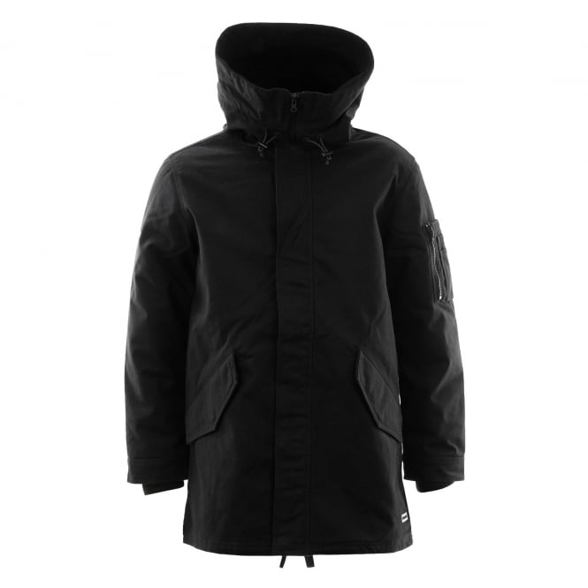 CONVERSE Mens Quilted Warm Fishtail Parka 416 Jacket (Black)