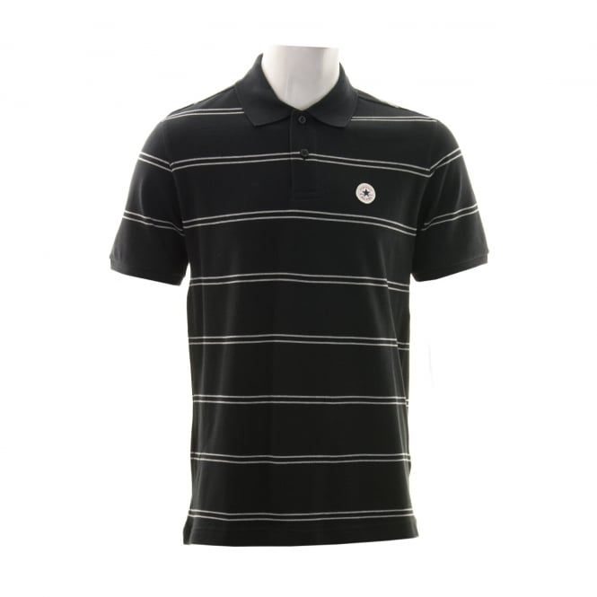 CONVERSE Mens Stripe 316 Polo Shirt (Black/Grey)