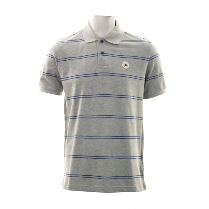 CONVERSE Mens Stripe 316 Polo Shirt (Grey/Blue)