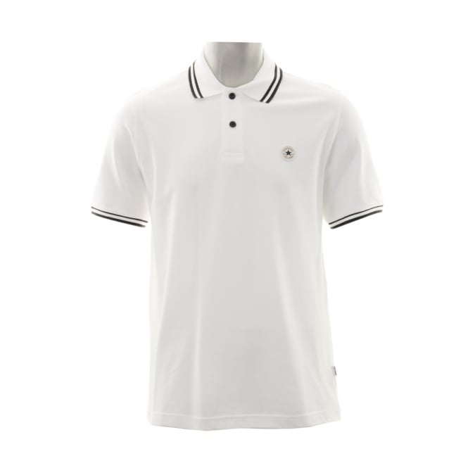 CONVERSE Mens Stripe Polo Shirt (White/Black)
