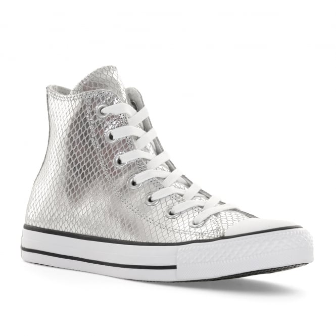 886e6a267fc0fd converse womens ct high metallic snake trainers silver from loofes uk