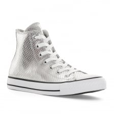 Converse Womens CT High Metallic Snake Trainers (Silver)