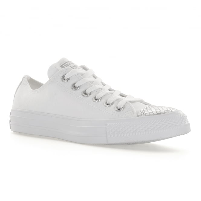 b8ba473c3cd8 converse womens ct ox metallic snake toe caps trainers white silver from  loofes uk