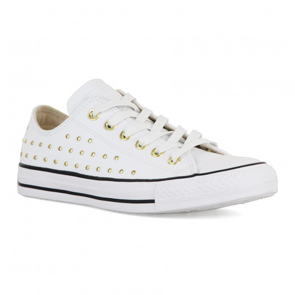 6450b25812f9 CONVERSE Converse Womens CT OX Studded Trainers (White) - Womens ...