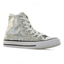 Converse Womens CT Party Hi Glitter 416 Trainers (Silver)