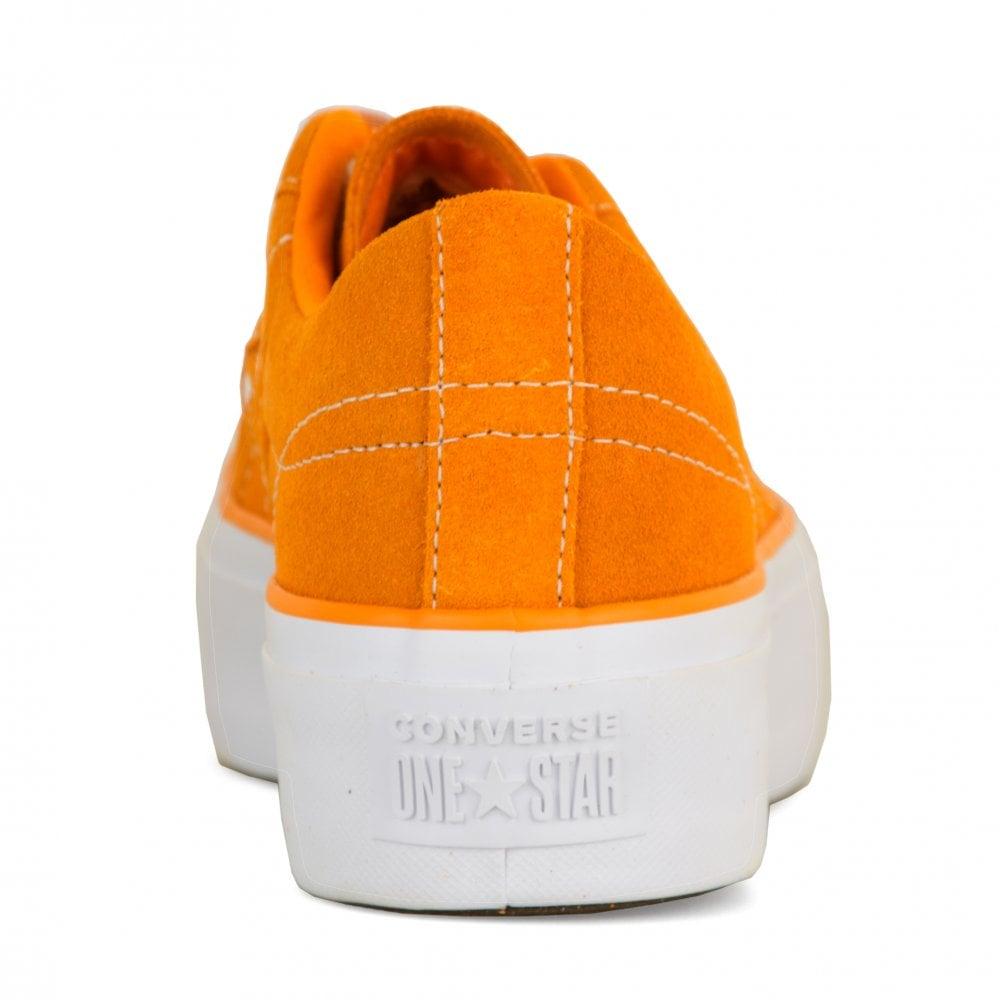 5e26b7f190d CONVERSE Converse Womens One Star Platform Trainers (Orange ...