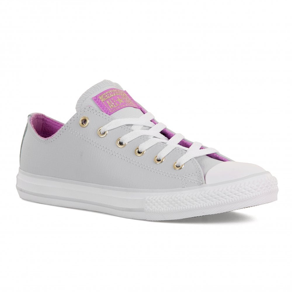 Converse Youths All Star OX Leather Trainers (Pure Platinum) - Kids ... 9ca97ca3678f1