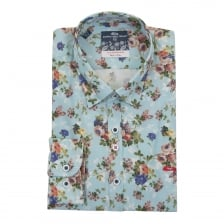 Dario Beltran Mens Kilate Flower Print Shirt (Blue)