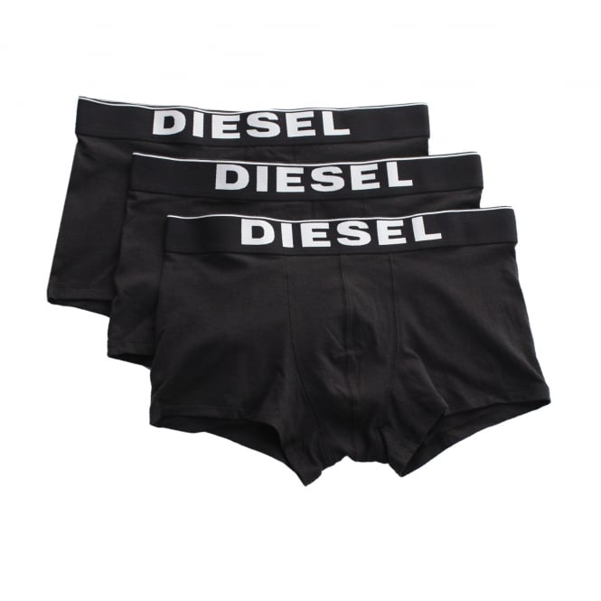 Diesel Mens 3 Pack Stretch Cotton Boxer Trunks (Black)