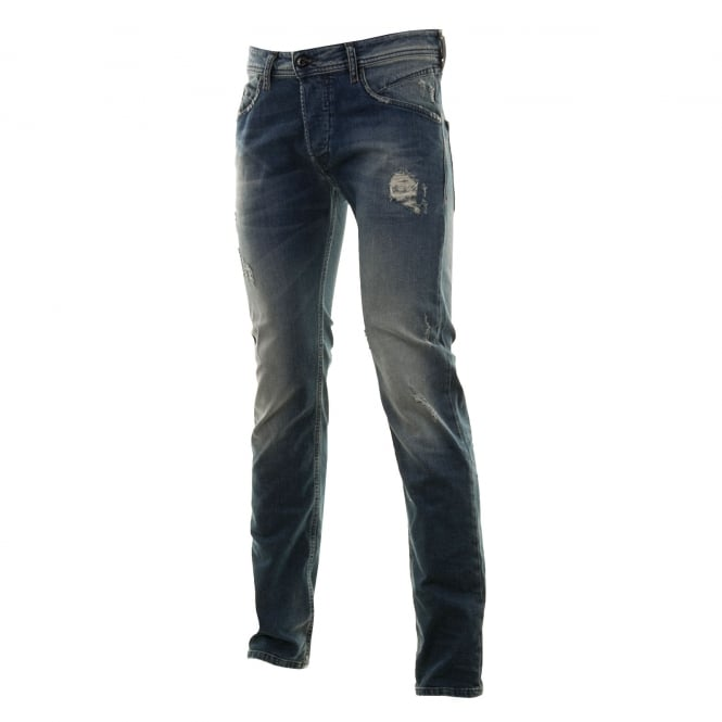 Diesel Mens Belther Slim Fit Tapered Jeans (Blue)