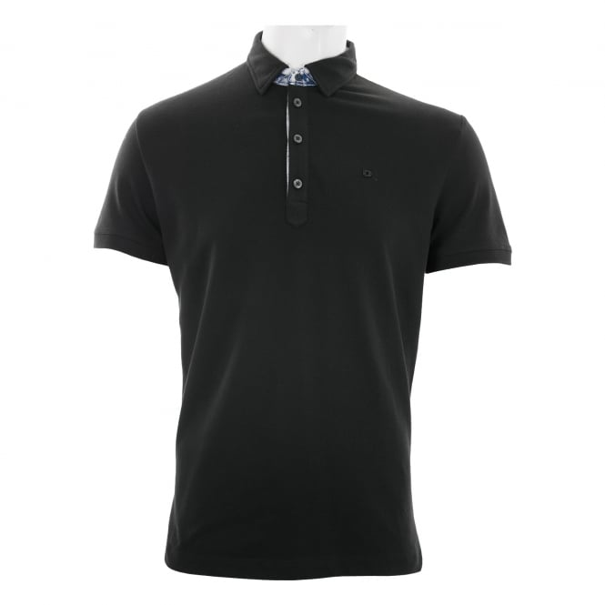 Diesel Mens Denim Collar Trim Polo Shirt (Black)