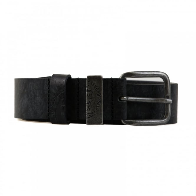Diesel Mens Distressed Look Leather Belt (Black)