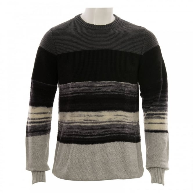 Diesel Mens K Baccanalis Ribbed Stripe Knit Sweater (Tonal Greys/Black)