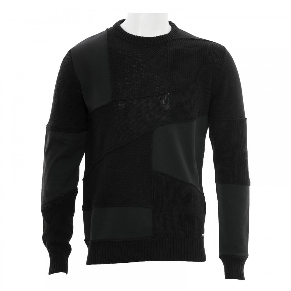Diesel Mens K Imonia Patch Crew Knit Sweater (Black) - Mens from ...