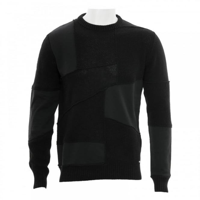 Diesel Mens K Imonia Patch Crew Knit Sweater (Black)