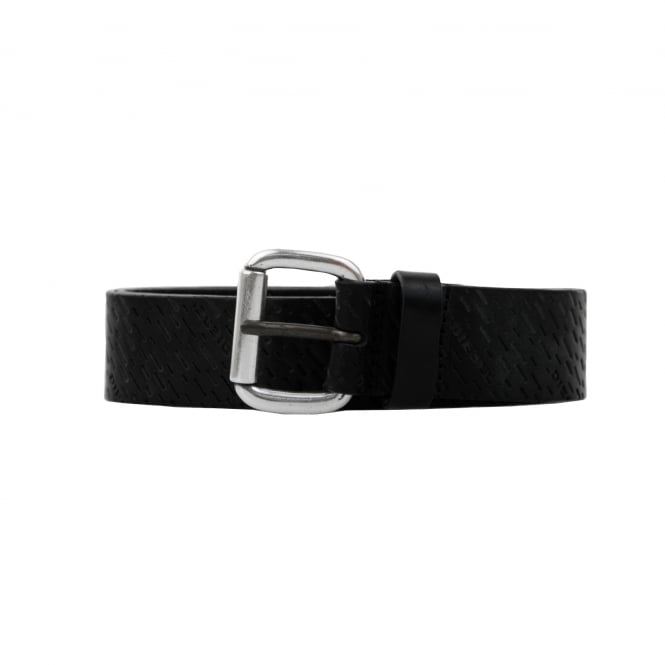 Diesel Mens Punch Pattern Leather Belt (Black)