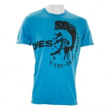 Diesel Mens Ulee Head Logo T-Shirt (Blue)